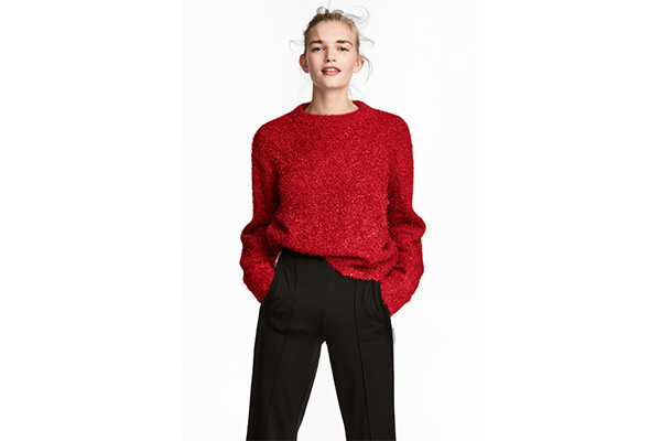Pulover rosu cu lurex H&M