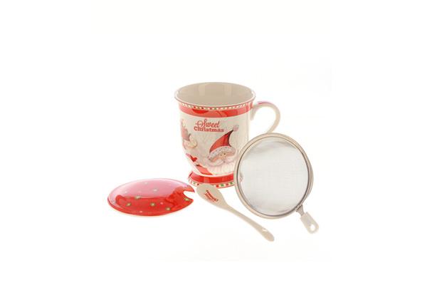 Set Christmas cana de ceai cu infuzor si lingurita Meli Melo Deco