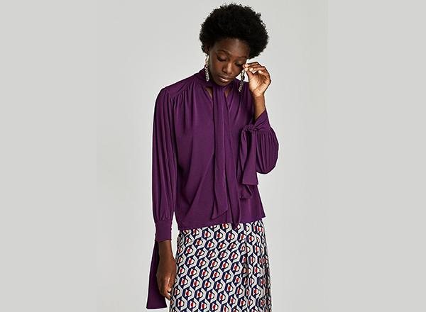 Bluza cu guler-funda Zara