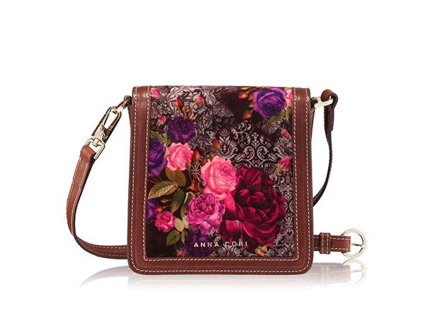 Mini-geanta catifea cu imprimeu violet Anna Cori