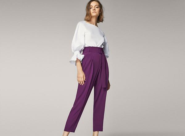 Pantaloni violet Massimo Dutti