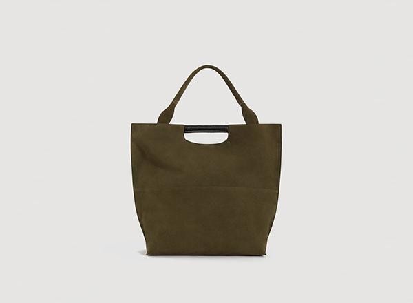 geanta verde masliniu din piele intoarsa Mango