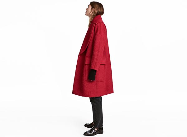 palton supradimensionat rosu H&M