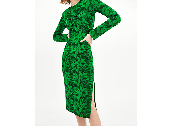 rochie Zara print tropical verde