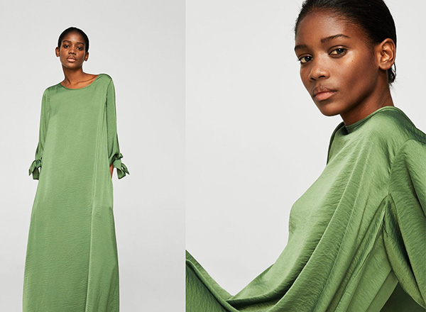 rochie verde maxi Mango