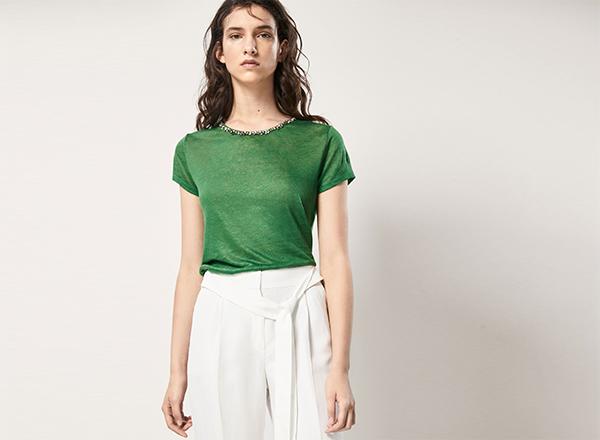 tricou verde Massimo Dutti