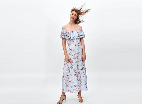 rochia cu flori si volan Zara