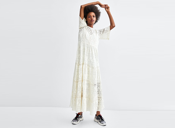 rochie alba dantela Zara