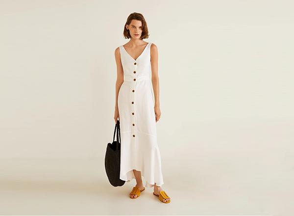 rochie alba din in Mango
