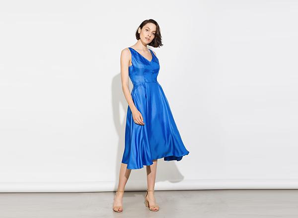 rochie albastra din satin BSB
