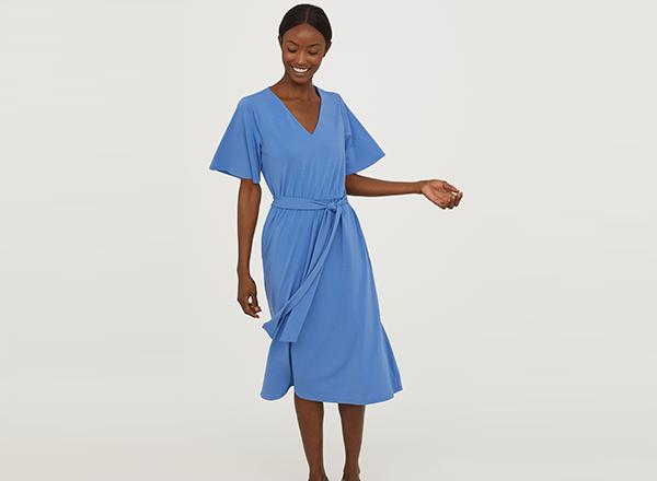 rochie bleu cu cordon HM