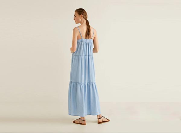 rochie bleu din denim soft Mango