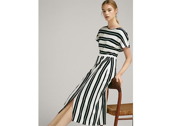 rochie cu dungi alb-negru Massimo Dutti