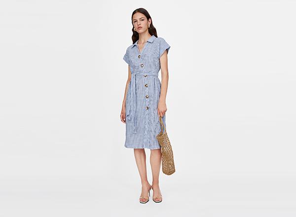 rochie cu dungi tip camasa Zara