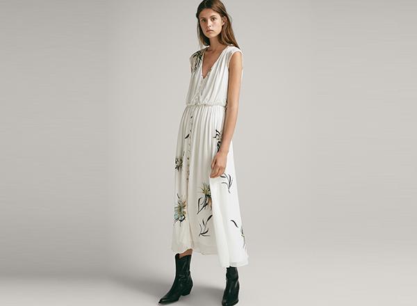 rochie cu print floral Massimo Dutti