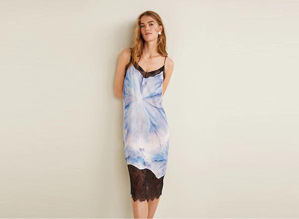 rochie cu print tie dye Mango