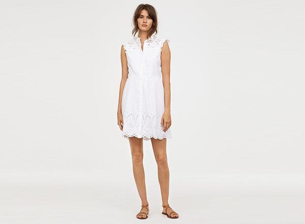 rochie din bumbac alb si dantela HM