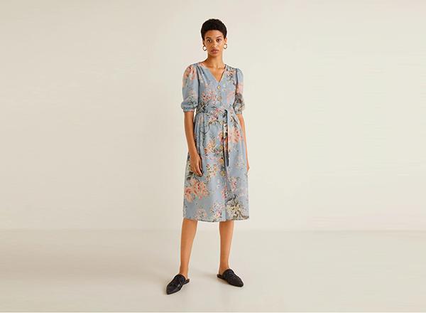 rochie din in cu flori Mango