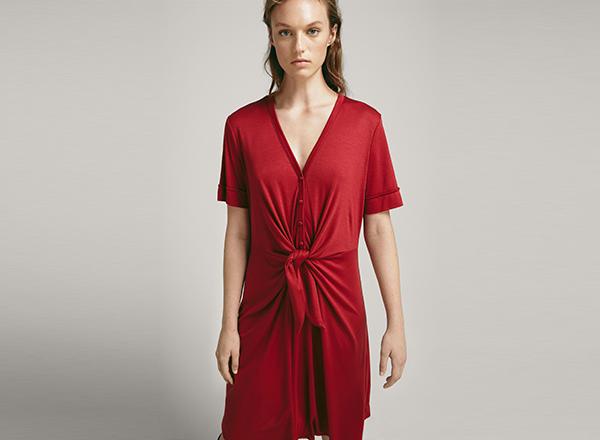 rochie din tricot cu nod frontal Massimo Dutti