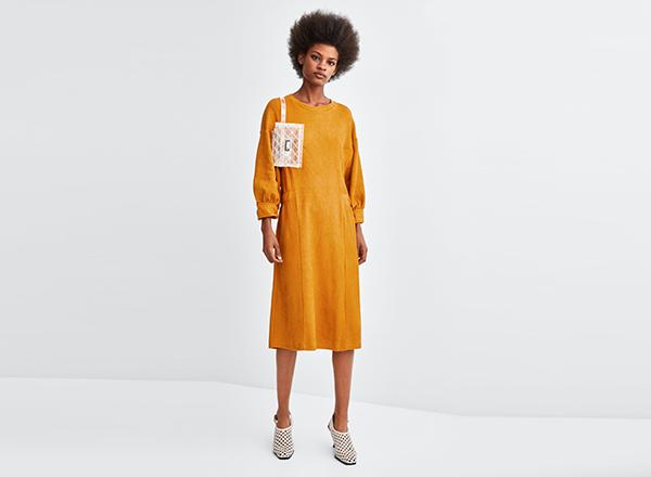 rochie larga cu nasturi Zara