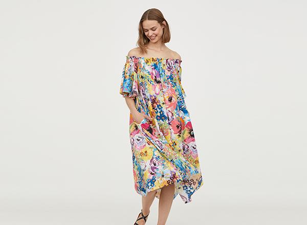 rochie larga cu print floral HM