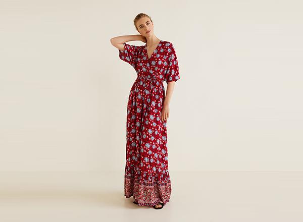rochie maxi cu print boem Mango