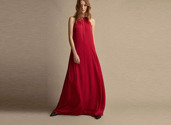 rochie maxi rosie Massimo Dutti