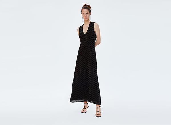 rochie neagra cu fir metalizat Zara