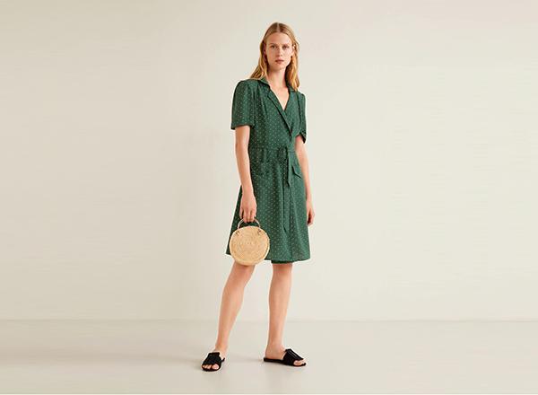 rochie verde cu buline Mango