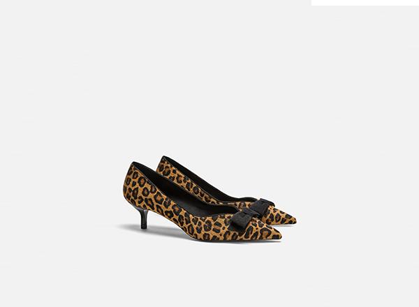 pantofi din piele toc kitten Zara