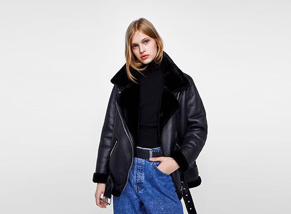 geaca neagra cu interior blana Zara