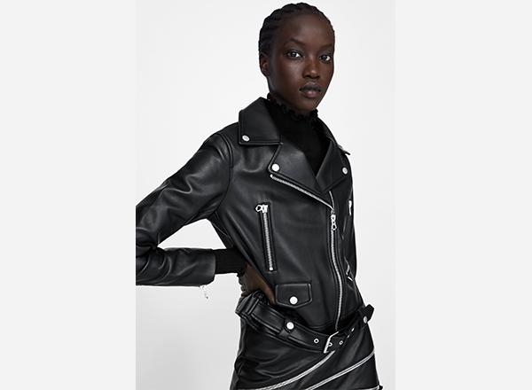geaca neagra imitatie piele Zara