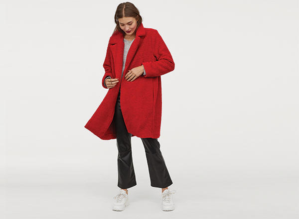 palton scurt blana artificiala rosie HM