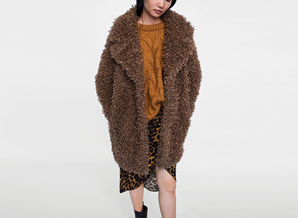 palton scurt din blana Zara