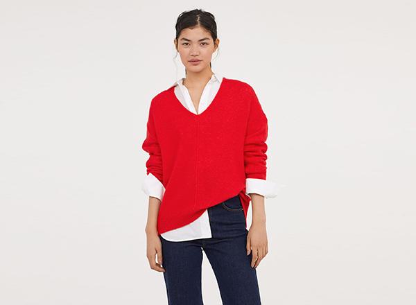 pulover rosu decolteu V HM