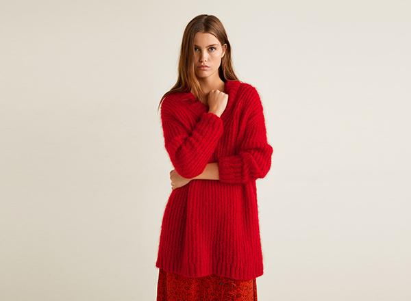 pulover rosu mohair Mango