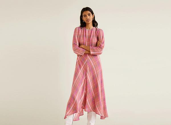 rochie carouri roz Mango