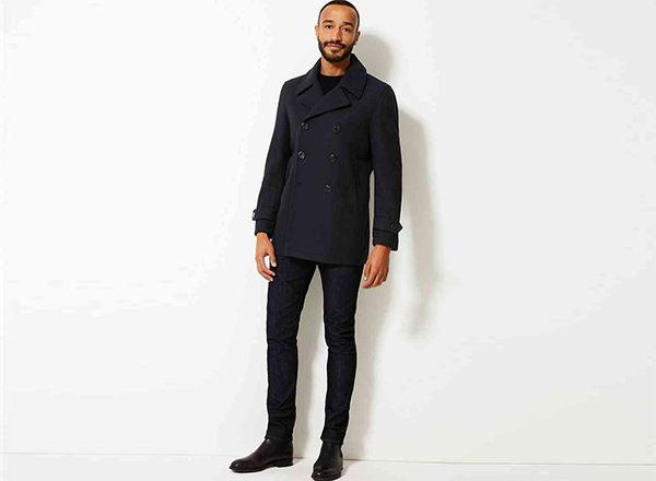 pea coat bleumarin M&S