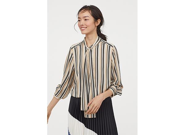 bluza cu dungi negru bej alb H&M