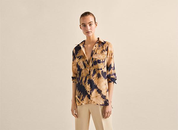 camasa bej cu print tie dye Massimo Dutti