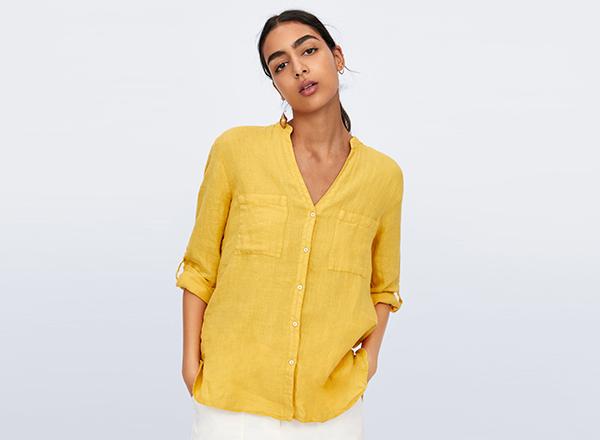 camasa galbena din in Zara