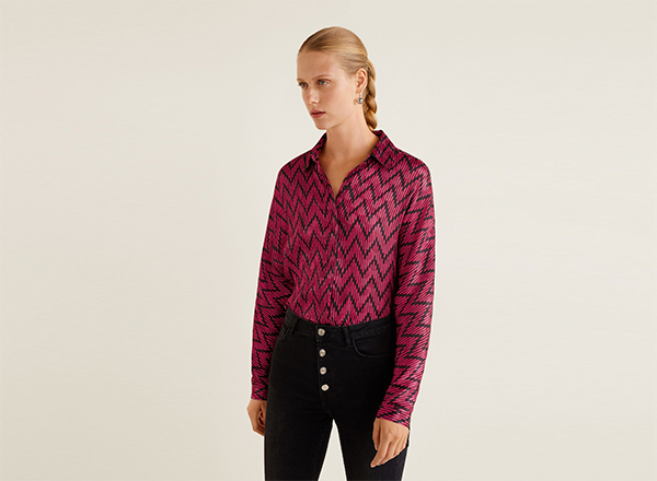 camasa roz cu print geometric Mango