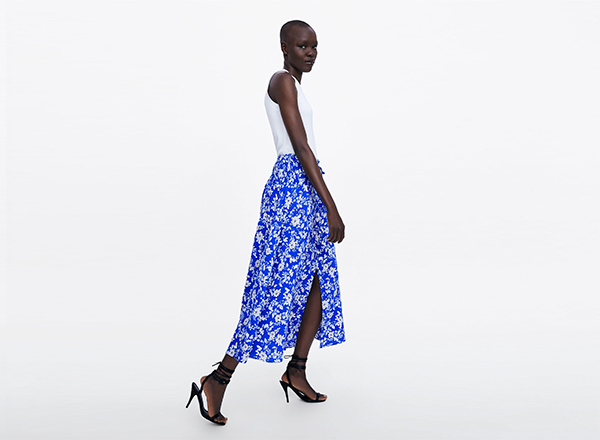fusta albastra Zara