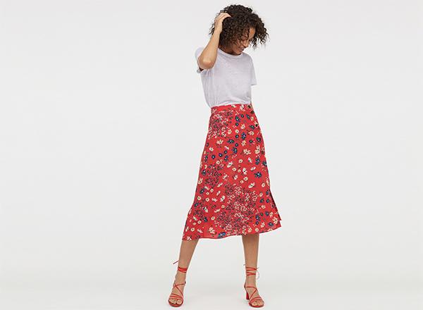 fusta cu print floral rosu H&M