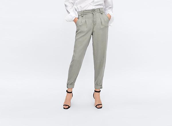 pantaloni cargo verde-gri Zara
