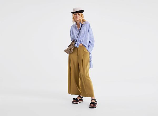 pantaloni galben mustar cu pliuri Zara