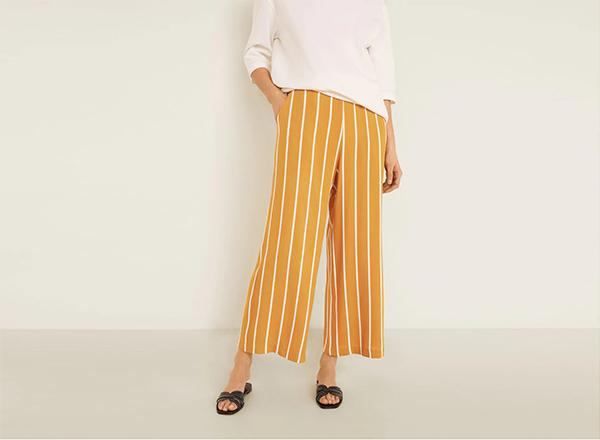 pantaloni galbeni cu dungi mango