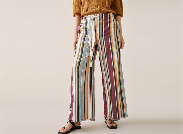 pantaloni largi cu dungi visinii Zara