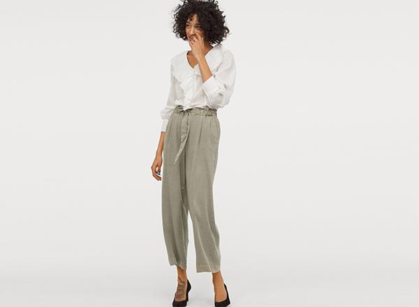 pantaloni largi verde gri HM