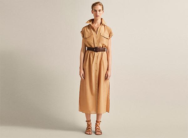 rochie camasa bej nucsoara Massimo Dutti